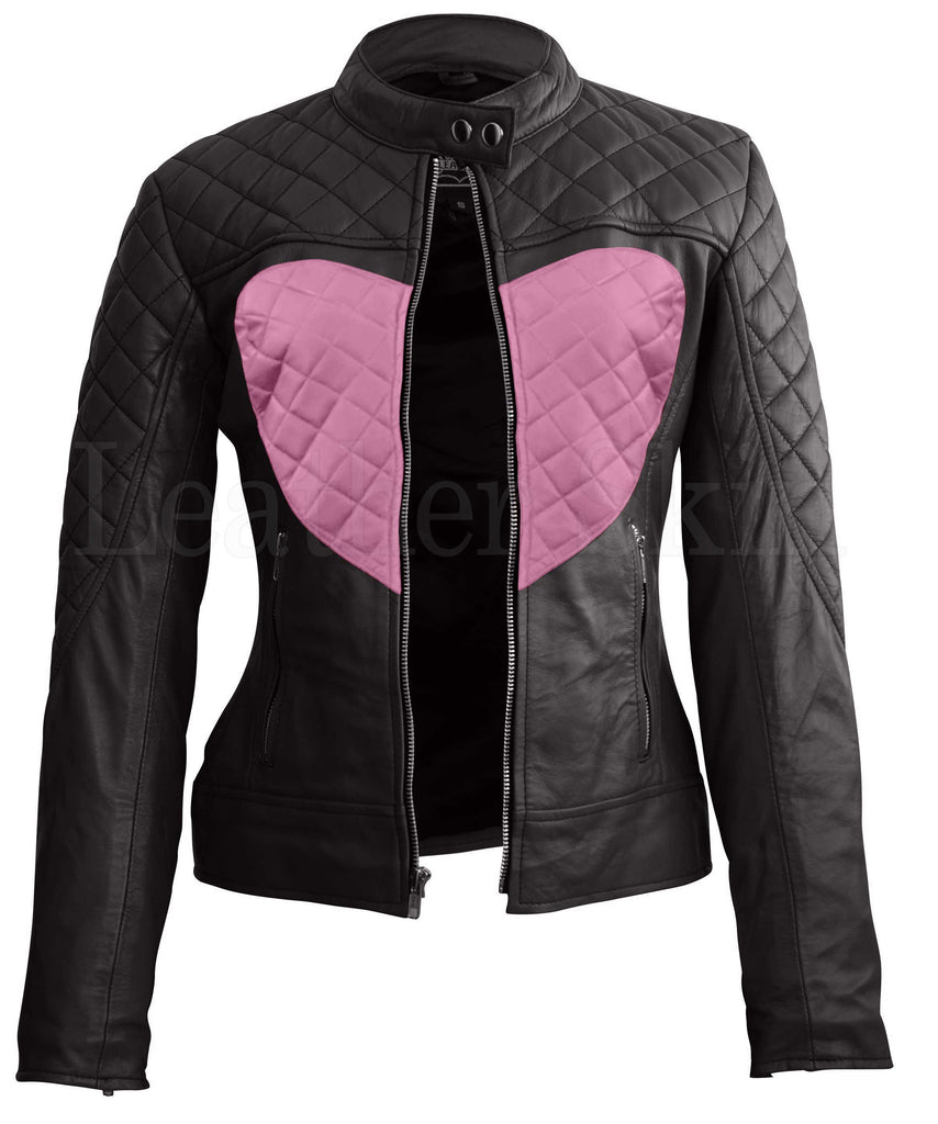 Women - Apparel - Outerwear - Jackets Women Black Pink Heart Leather Jacket