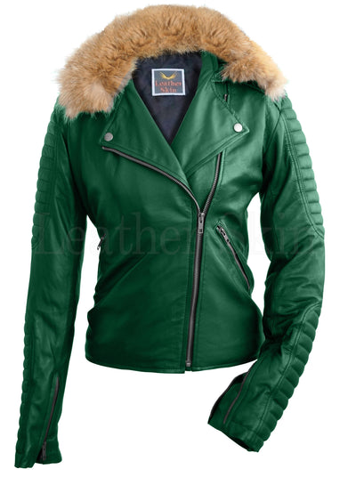 Women - Apparel - Outerwear - Jackets Women Green Fox Biker Leather Jacket