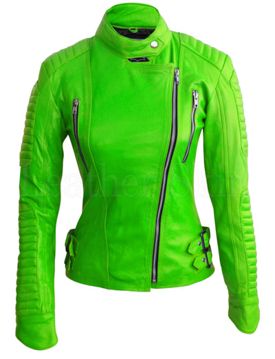 Women - Apparel - Outerwear - Jackets Women Parrot Green Padded Leather Jacket