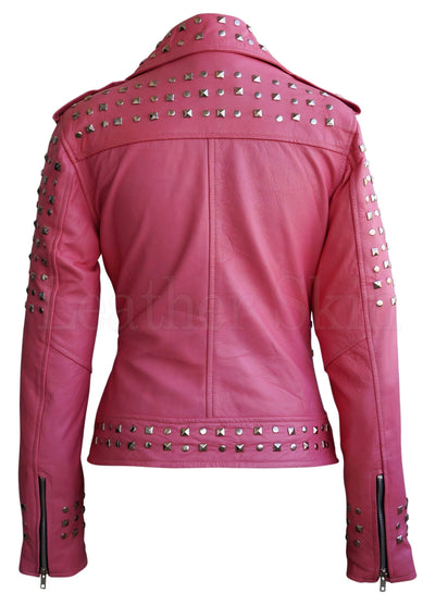 Women - Apparel - Outerwear - Jackets Women Pink Spike Studs Leather Jacket