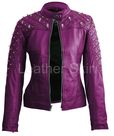Women - Apparel - Outerwear - Jackets Women Purple Quilted Leather Jacket