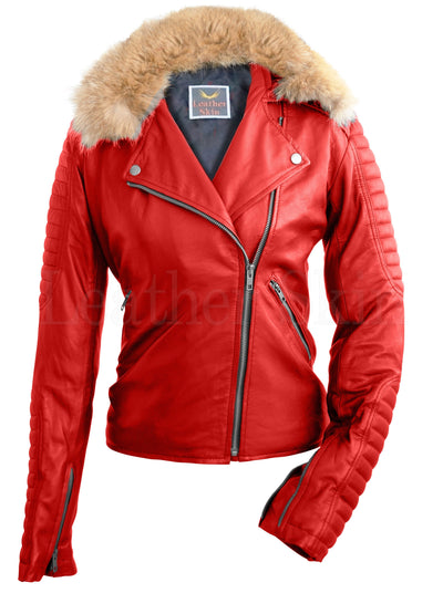 Women - Apparel - Outerwear - Jackets Women Red Fox Fur Biker Leather Jacket