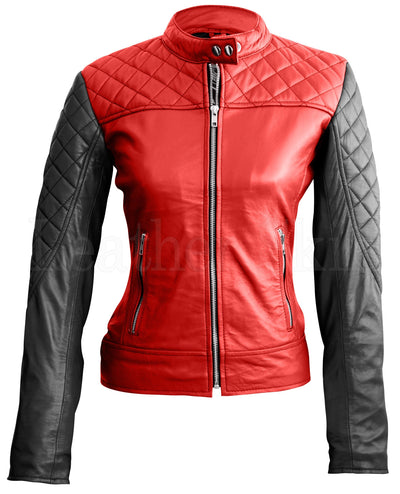 Women - Apparel - Outerwear - Jackets Women Red Quilted Leather Jacket