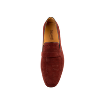 Men - Shoes - Loafers & Drivers Fedele - Slip On Loafer In Burgundy Woven Calf Leather Fashion Madness