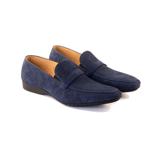 Men - Shoes - Loafers & Drivers Fedele - Slip On Loafer In Cobalt Blue Woven Calf Leather Fashion Madness