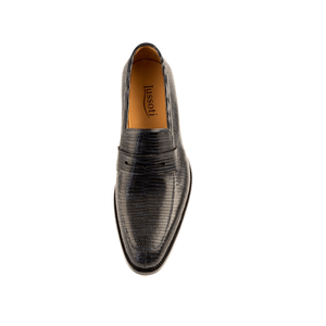Men - Shoes - Loafers & Drivers Giovanni - Penny Loafer Shoe In Embossed Midnight blue Calf Leather Fashion Madness