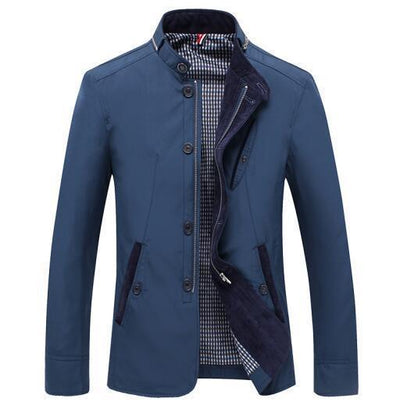 Men - Apparel - Outerwear - Jackets Blue / L Slim Fit Thin Stand Button Casual Jacket