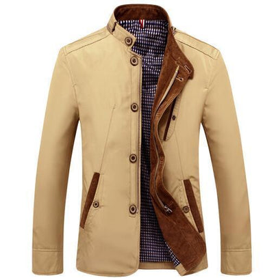 Men - Apparel - Outerwear - Jackets Khaki / L Slim Fit Thin Stand Button Casual Jacket