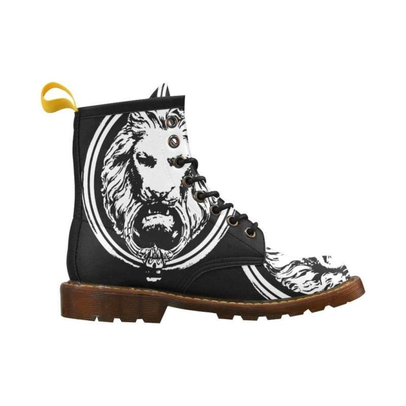 Men - Shoes - Boots Mens Large Black & White Lion Lace up Boots Fashion Madness