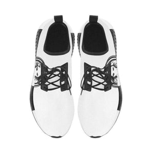 Men - Shoes - Sneakers Mens White Trainer with Black Lion, Run Style Shoes Fashion Madness