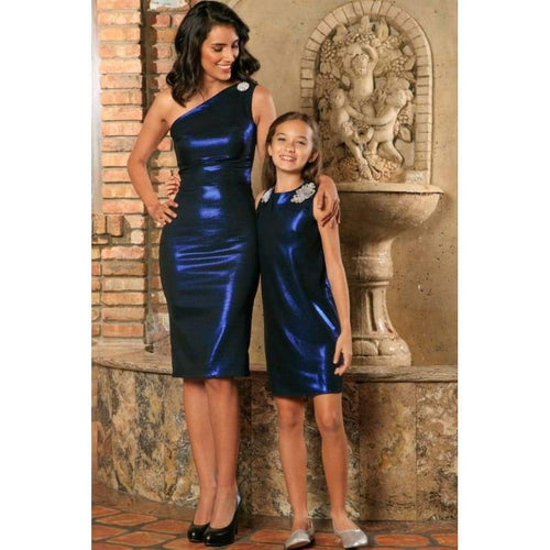 Kids - Girls - Apparel Blue Navy Stretchy Metallic Evening Chic Cocktail Mommy and Me Dress Fashion Madness