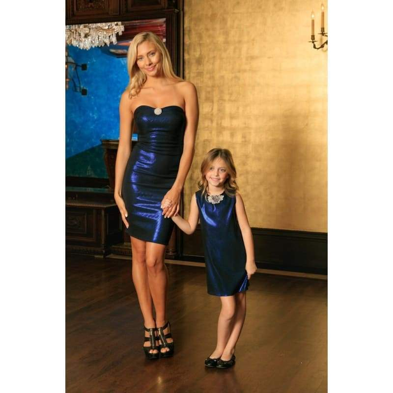 Kids - Girls - Apparel Blue Navy Stretchy Metallic Sleeveless Fancy Mother Daughter Dresses Fashion Madness