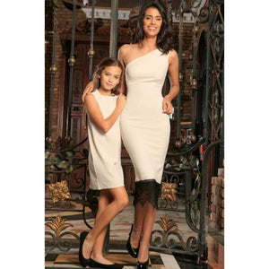 Kids - Girls - Apparel Ivory Beige Stretchy Summer Trendy Chic Party Mommy and Me Dresses Fashion Madness