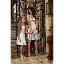 Kids - Girls - Apparel Silver Grey Sleeveless Skater Fit & Flare Party Mother Daughter Dress Fashion Madness
