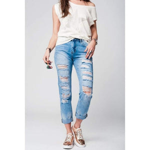 Women - Apparel - Denim - Jeans Mom jeans with extreme rips Fashion Madness