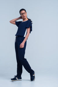 Women - Apparel - Jumpsuits/Rompers Navy blue jumpsuit with short sleeve and ruffle detail fashion clothing accessories shoes jewelry