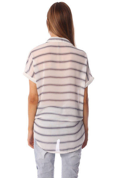 Women - Apparel - Shirts - Blouses White short sleeve drape wrap blouse with blue striped design fashion clothing accessories shoes jewelry