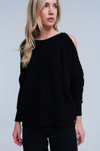 Women - Apparel - Sweaters - Pull Over Black knitted sweater with pearl detail fashion clothing accessories shoes jewelry