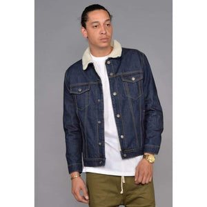 Men - Apparel - Denim - Jackets Raw Denim Borg Lined Jacket Fashion Madness