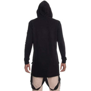 Men - Apparel - Sweaters - Pull Over The Akuma Paratrooper Elongated Hoodie in Black Fashion Madness
