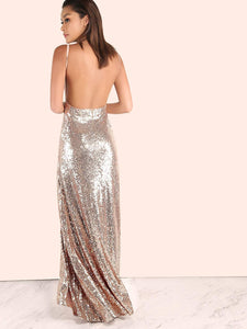 Backless Sequin Cami Maxi Dress ROSE GOLD fashion clothing accessories shoes jewelry
