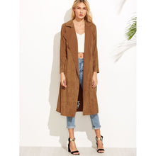 Brown Suede Self Tie Duster Coat fashion clothing accessories shoes jewelry