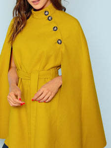 Button Front Self Belted Cape Coat fashion clothing accessories shoes jewelry