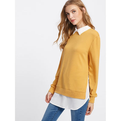 Contrast Collar Curved Hem 2 In 1 Pullover fashion clothing accessories shoes jewelry