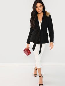 Contrast Faux Fur Detail Blazer fashion clothing accessories shoes jewelry