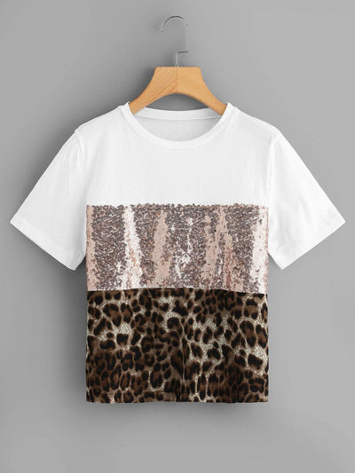 Contrast Sequin Panel Tee