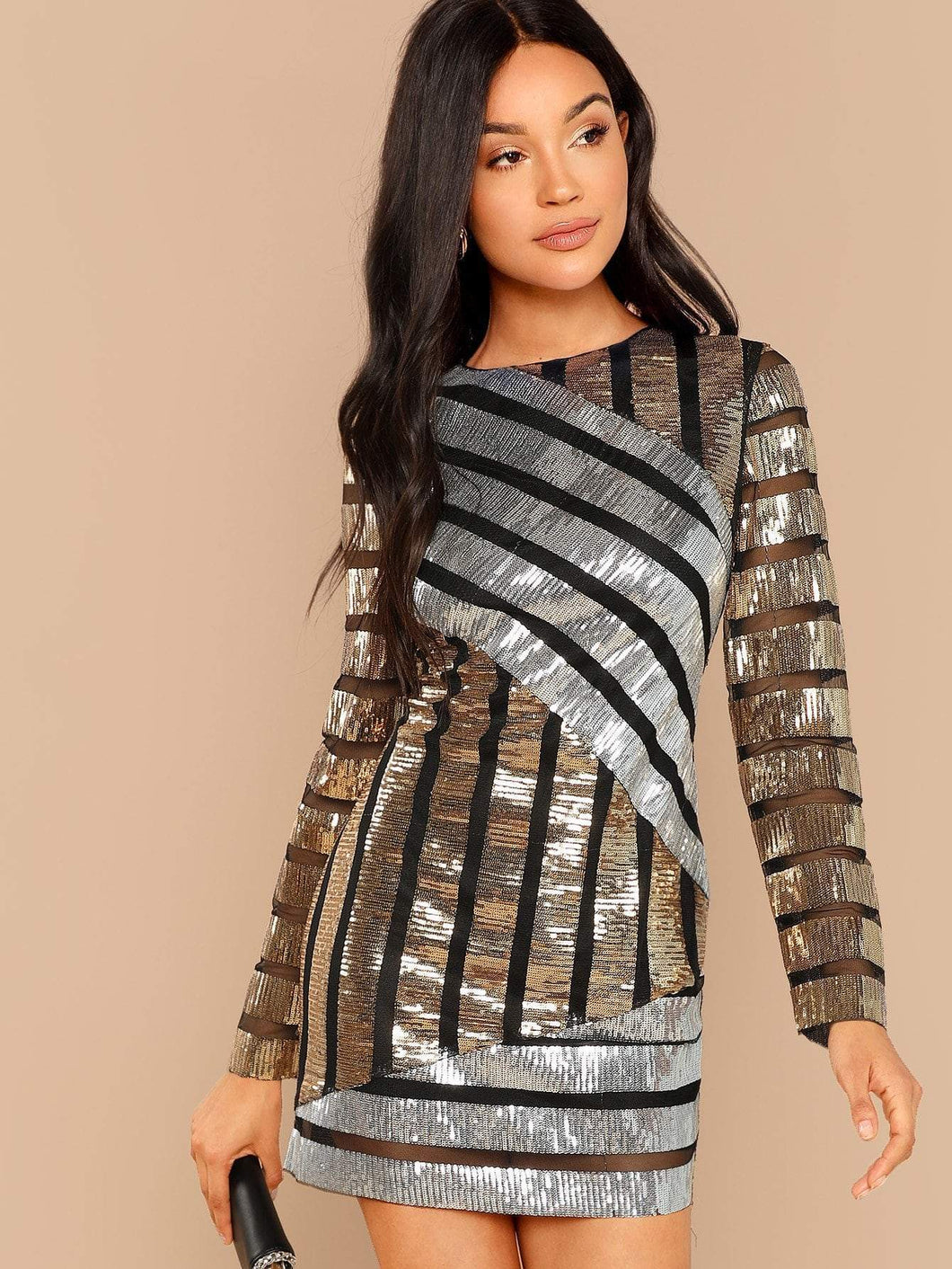 Cut and Sew Sequin Textured Dress fashion clothing accessories shoes jewelry