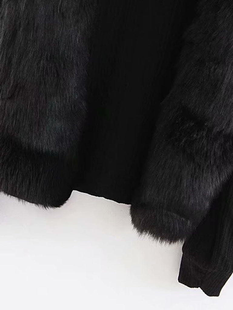 Faux Fur Panel Sweater fashion clothing accessories shoes jewelry