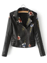 Flower Embroidery Studded Detail PU Biker Jacket fashion clothing accessories shoes jewelry