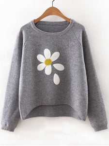 Flower Print Raglan Sleeve Dip Hem Sweater fashion clothing accessories shoes jewelry