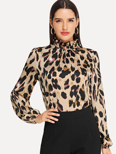 Frilled Collar Keyhole Back Leopard Top fashion clothing accessories shoes jewelry