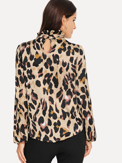 Frilled Collar Keyhole Back Leopard Top