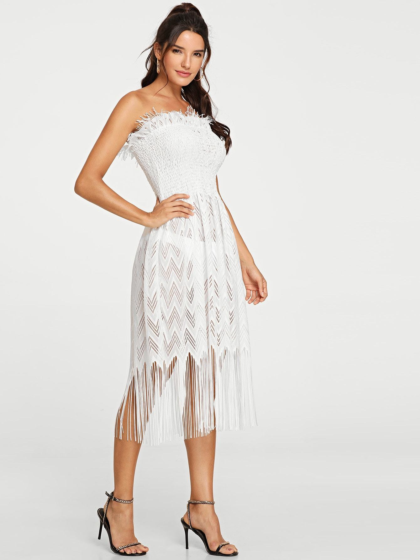 3e4c908ea4f Fringe Hem Sheer Tube Dress