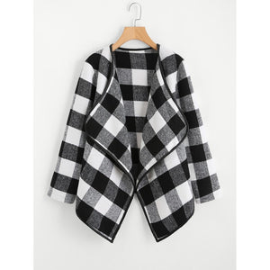 Gingham Plaid Waterfall Neck Coat fashion clothing accessories shoes jewelry