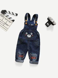 Toddler Boys Cartoon Pattern Embroidered Overalls