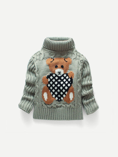 Kids - Boys - Apparel Toddler Boys Cartoon Print Cable Knit Sweater fashion clothing accessories shoes jewelry