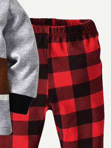 Kids - Boys - Apparel Toddler Boys Cartoon Print Tee With Plaid Pants fashion clothing accessories shoes jewelry