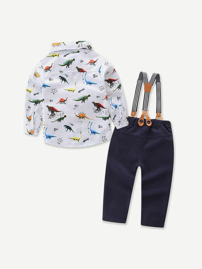 Kids - Boys - Apparel Toddler Boys Dinosaur Print Shirt With Overalls fashion clothing accessories shoes jewelry