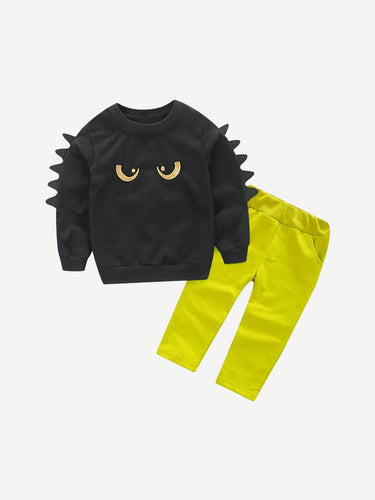 Kids - Boys - Apparel Toddler Boys Embroidery Print Sweatshirt With Pants fashion clothing accessories shoes jewelry