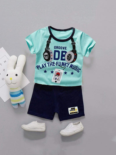 Kids - Boys - Apparel Toddler Boys Letter And Headset Print Tee With Shorts fashion clothing accessories shoes jewelry