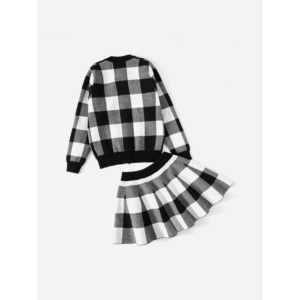 Kids - Girls - Apparel Kids Check Plaid Jacket With Skirt fashion clothing accessories shoes jewelry