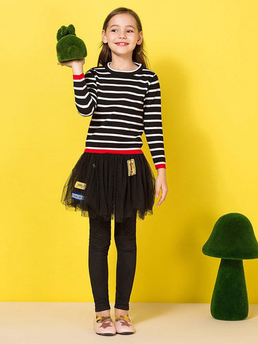 Kids - Girls - Apparel Toddler Girls Contrast Trim Striped Sweater fashion clothing accessories shoes jewelry