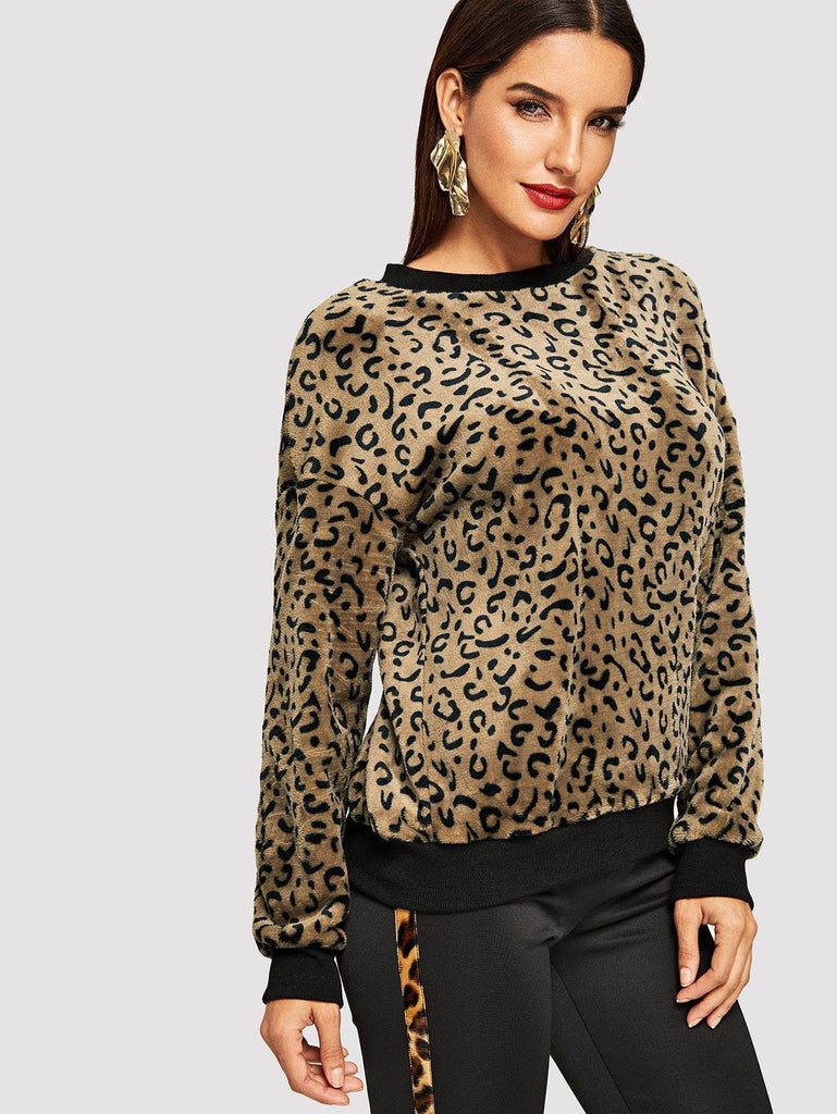 Leopard Print Drop Shoulder Pullover fashion clothing accessories shoes jewelry