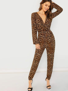 Leopard Print Surplice Neck Jumpsuit fashion clothing accessories shoes jewelry
