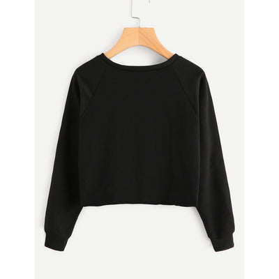 Letter Print Raglan Sleeve Crop Pullover fashion clothing accessories shoes jewelry