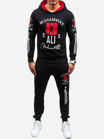 Men - Apparel - Activewear - Leggings Men Letter Print Hoodie With Drawstring Pants fashion clothing accessories shoes jewelry